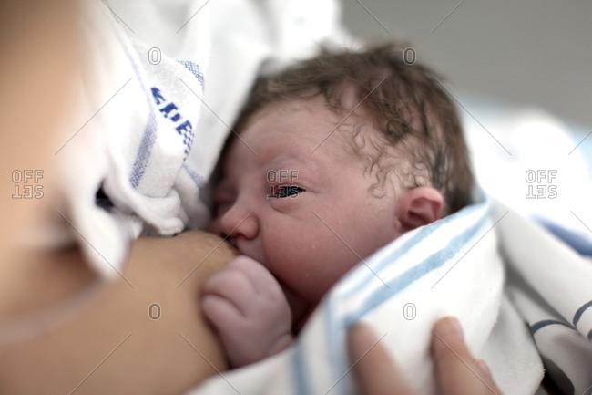 Breast feeding a newborn