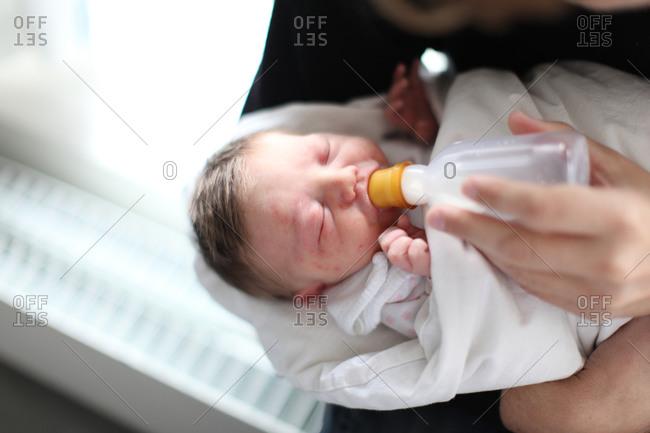 Hungry newborn baby