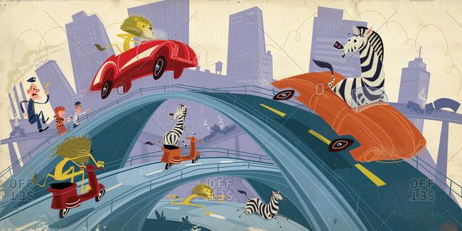 Wild animals gone wild on city highways