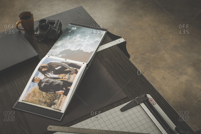 Photographer portfolio and equipment in a studio