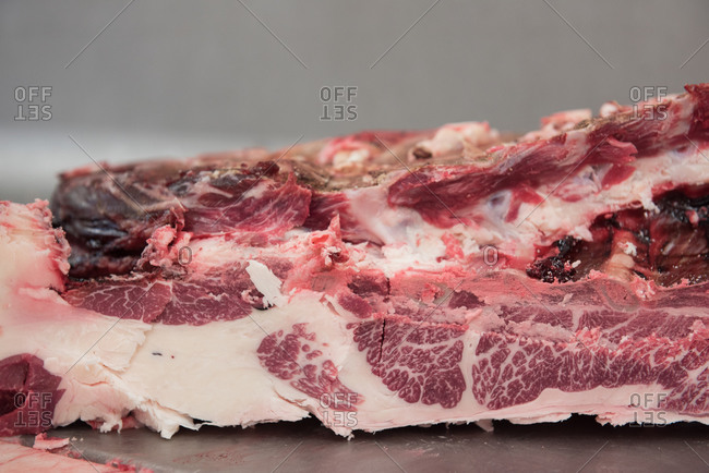 Close up of raw meat at a butcher shop