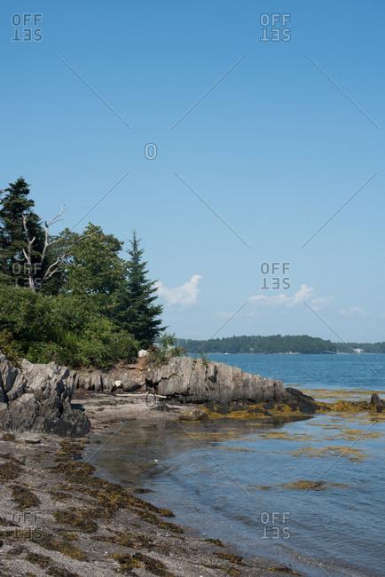 Rocky shoreline at Basket Island, Maine