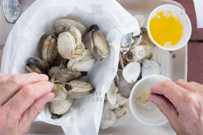 Hand dipping steamed clams in broth