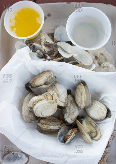 Platter of steamed clams and butter