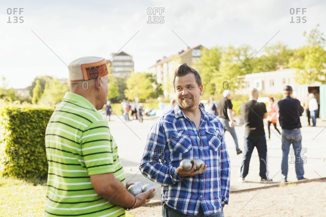 Men at a boules tournament
