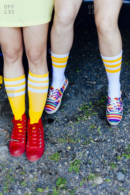 Girls in brightly colored socks