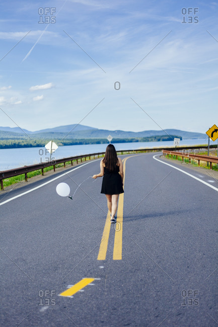Woman with a balloon at the Ashokan Reservoir