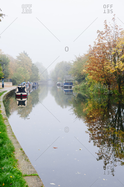 Regent's canal in the fog in London