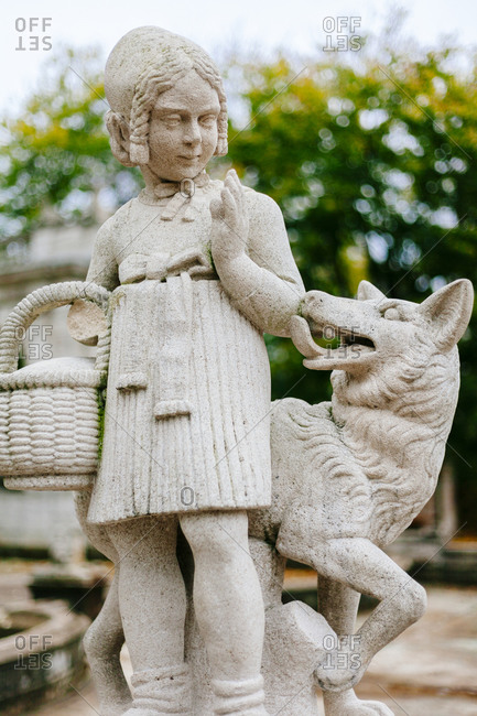 A statue of Little Red Riding Hood and the wolf in Berlin