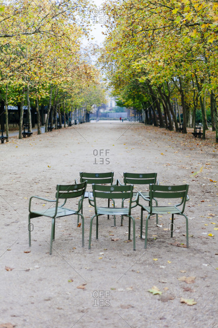 Empty chairs at Jardin du Luxembourg in Paris