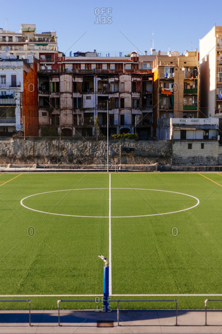 A soccer field in a working class neighborhood in Barcelona