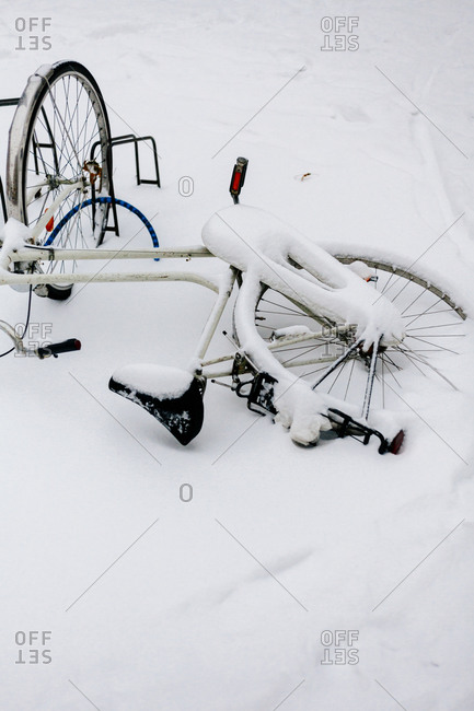 A snowed covered bike