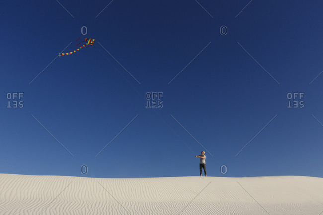 Flying a kite in White Sands, New Mexico