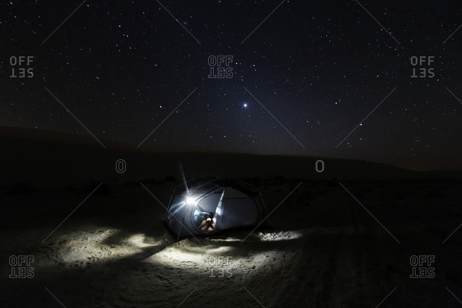 Campsite at night in White Sands, New Mexico