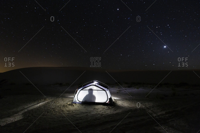 Tent at night in White Sands, New Mexico