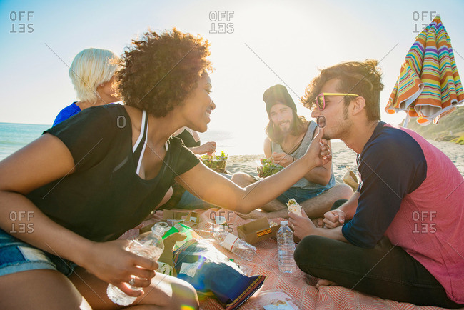 Group of friends having a picnic at the beach