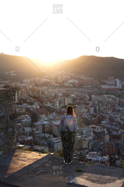 Woman looking at view from Bunker del Carmel, Barcelona