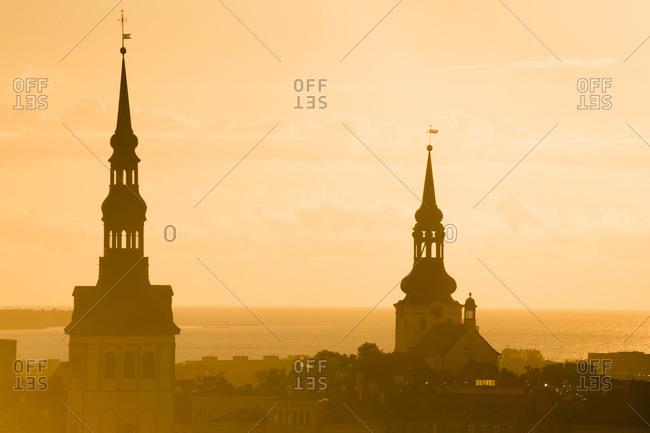 Church spires at sunset, Tallinn