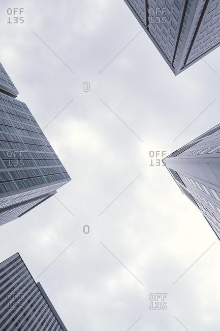 Corners of four skyscrapers seen from below, Tokyo