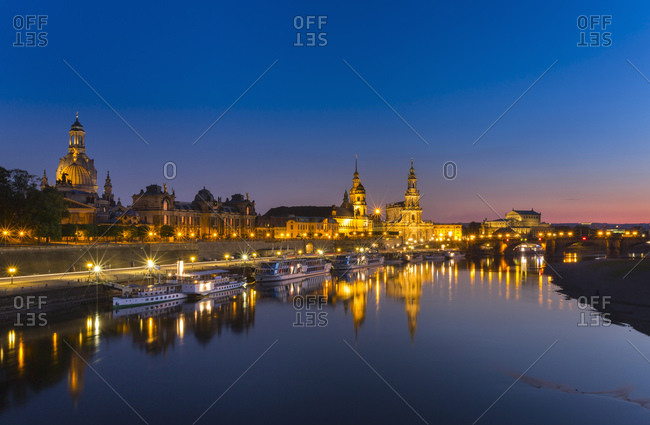 Dresden with Elbe River in the foreground at night, Dresden