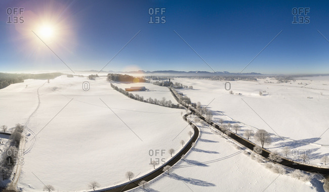 Aerial view of winter landscape, Holzkirchen