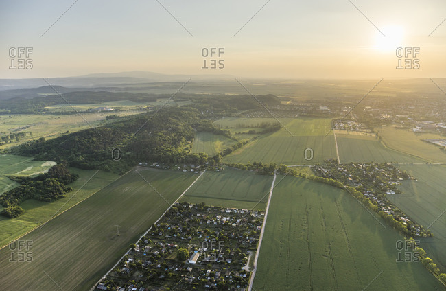 Aerial view of Northern Harz foreland with Harz low mountain range in the background