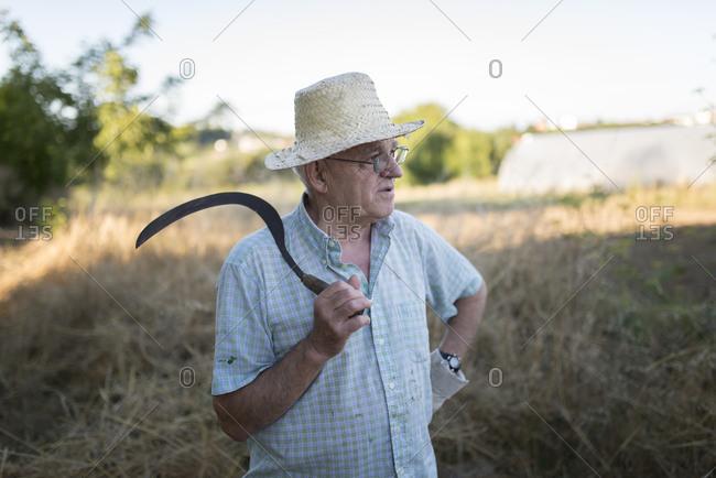 Portrait of a farmer with scythe on his shoulder, Ferrol