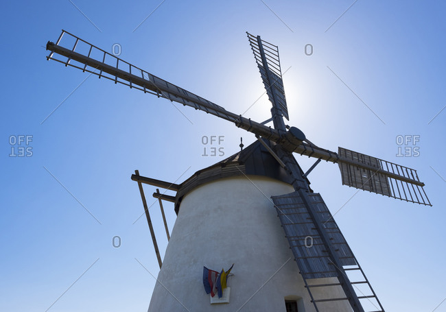 Windmill against the sun, view from below