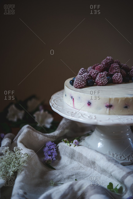 Frozen berries on a cake