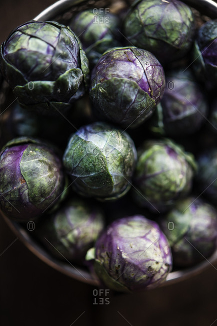 Whole purple Brussels sprouts