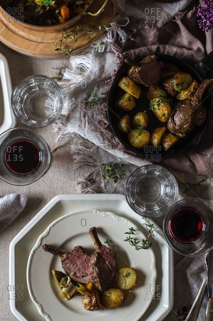 Potatoes and rack of lamb plate