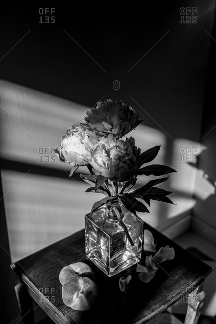 Flowers in a vase on a corner table