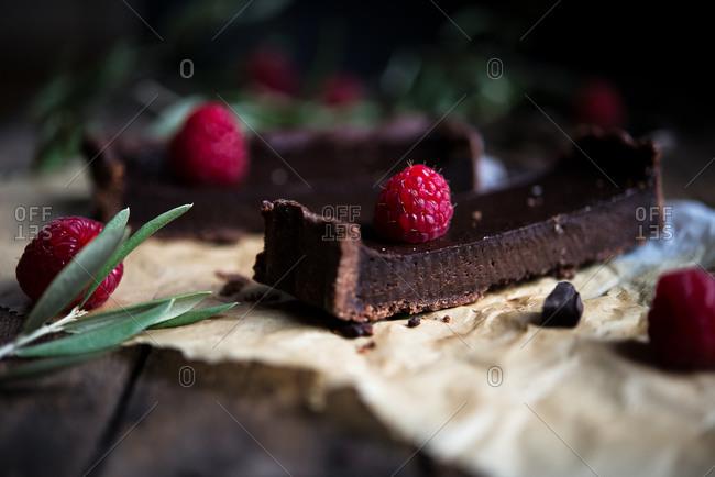 Chocolate bars with raspberries