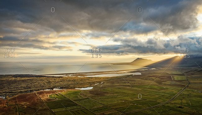 View of farmland and coastline in Snaefellsnes, Iceland