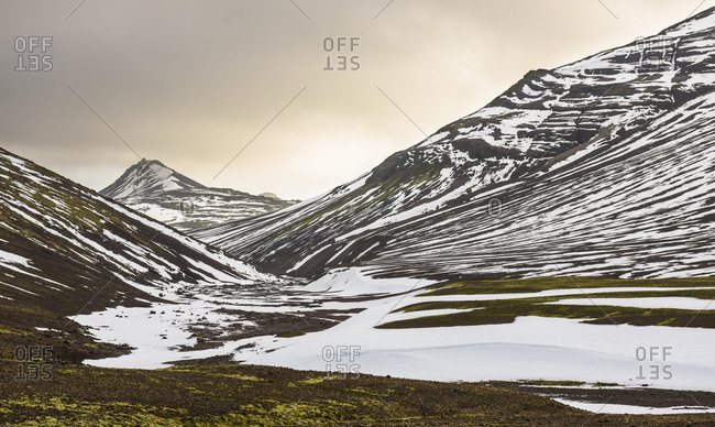 Mountains and valley covered in snow in Snaefellsnes, Iceland