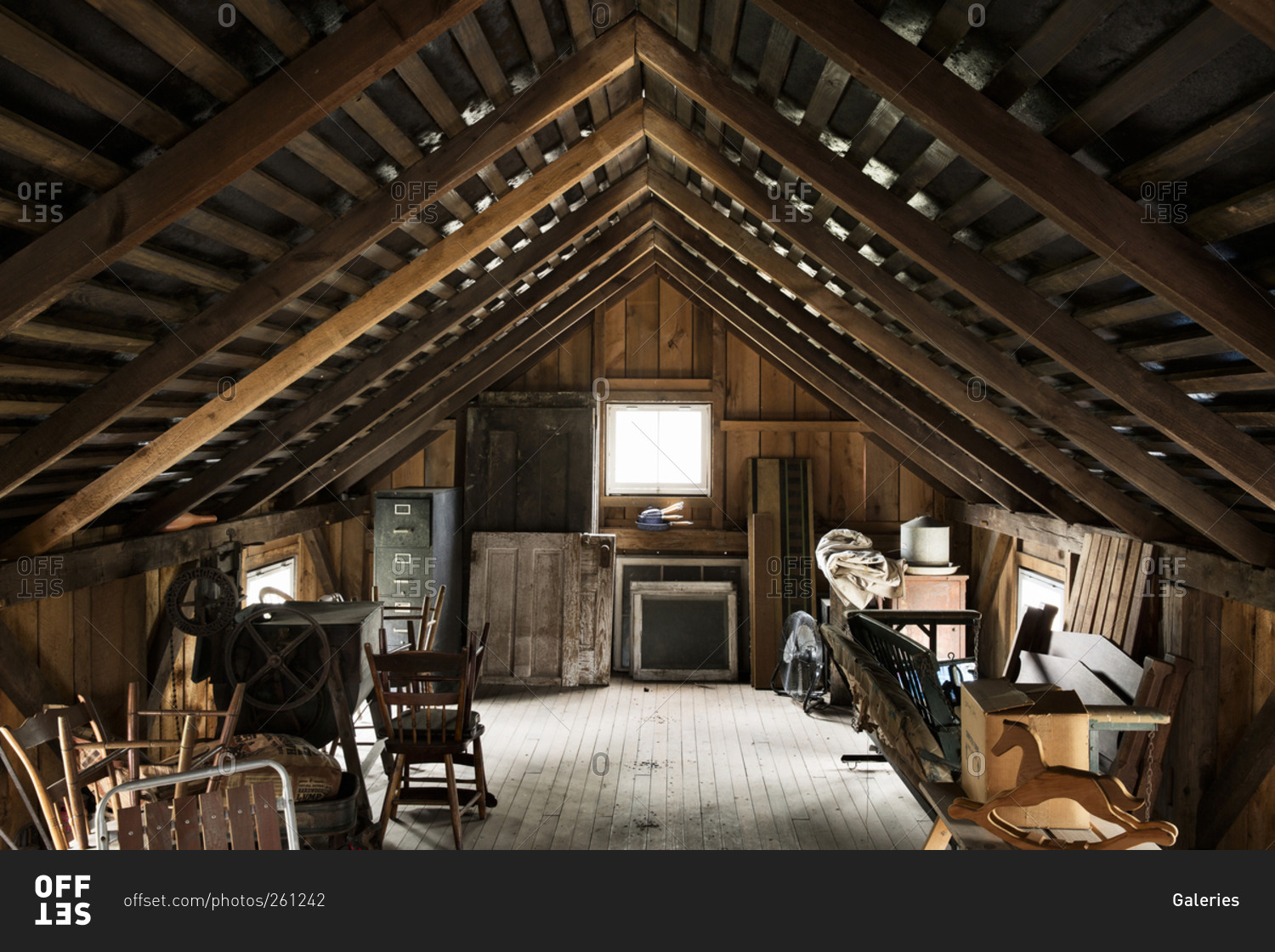Interior Of Old Attic American Paraphernalia Stock Photo
