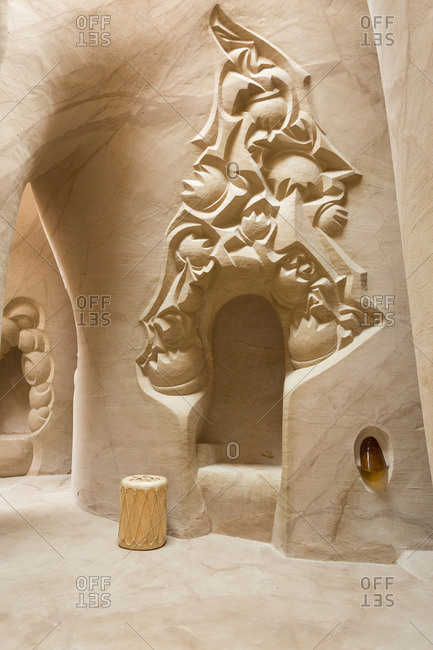 Embudo, New Mexico - June 23, 2014: Alcove in cave home designed by Ra Paulette in Embudo, New Mexico