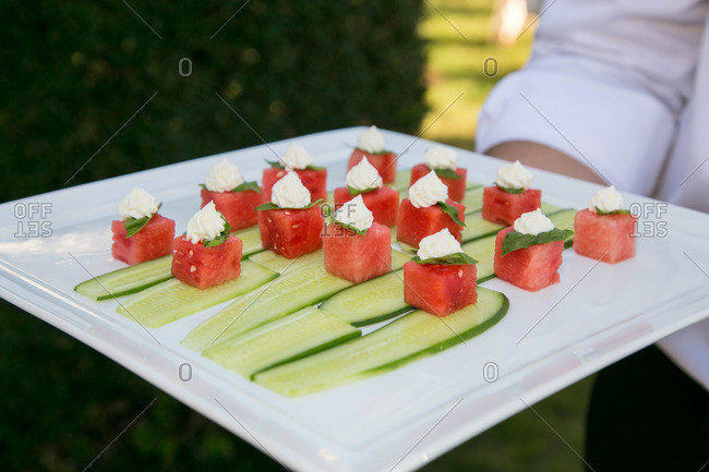 Waiter carrying tray of appetizers in Kent, Connecticut