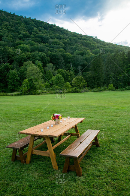 Picnic table and scenic landscape in Kent, Connecticut