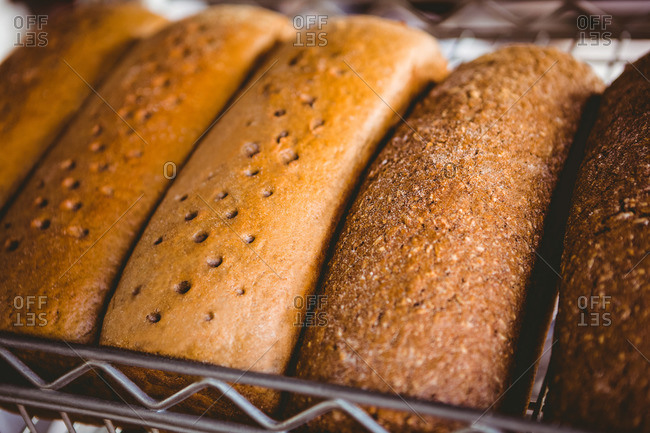 Close up view of fresh bread at the bakery