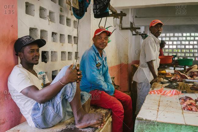 Ambodifotatra, Madagascar - March 23, 2015: Grocers at a market in Ambodifotatra, Madagascar