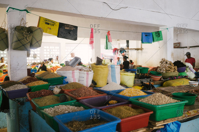 Ambodifotatra, Madagascar - March 23, 2015: Spice market in Ambodifotatra, Madagascar