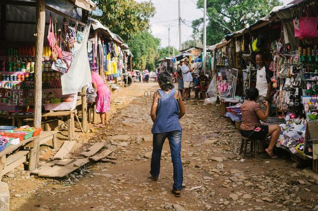 Ambodifotatra, Madagascar - March 23, 2015: Stalls in a marketplace in Ambodifotatra, Madagascar