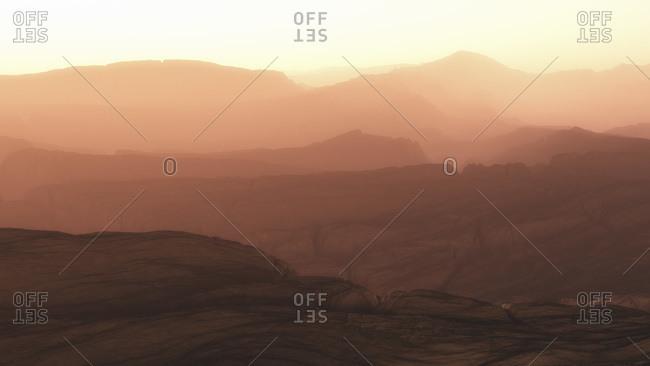 Rocky mountain range at dawn