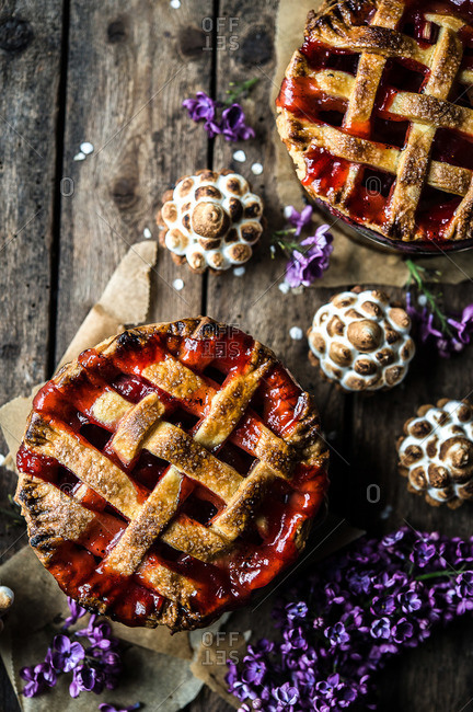 Pies, pastries, and violet flowers