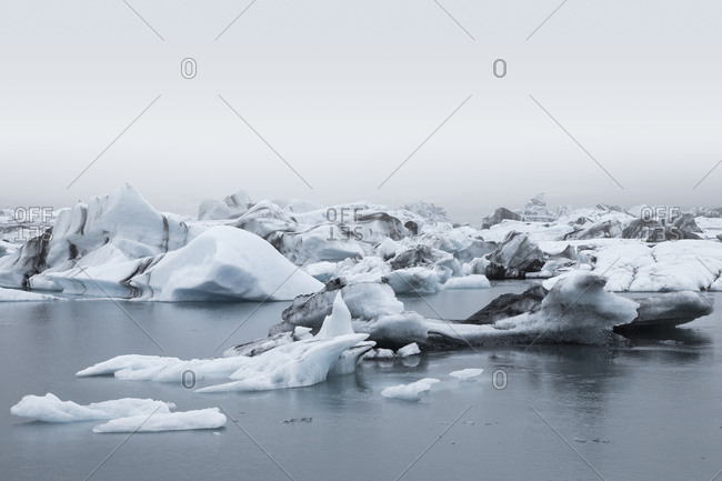 Ice chunks floating in water in Iceland