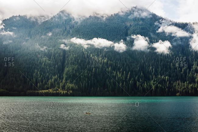 Canoe on a mountain lake
