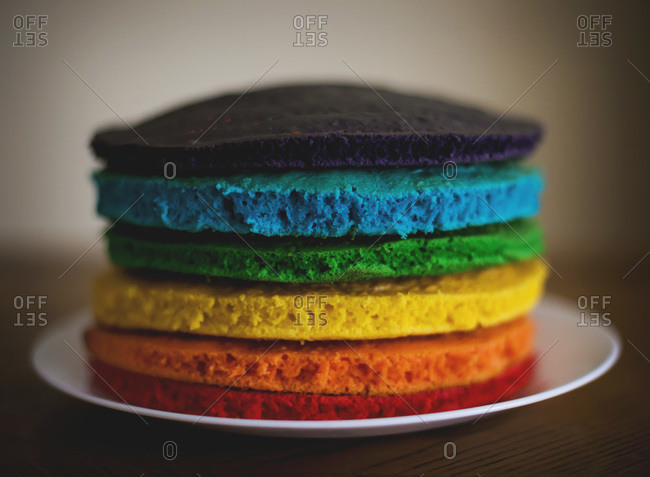 Layers Of A Multi Colored Birthday Cake Stock Photo Offset
