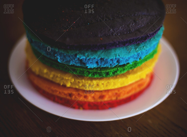Multi-colored birthday cake layers