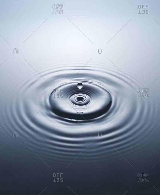 Close up of water drops and ripples